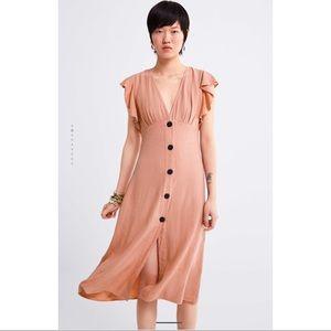 NWT! Zara Ruffled Rustic Dress - Size Small